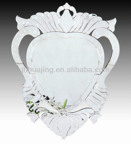 Etched Venetian Glass Heart Wall Mirror for Home/Bathroom