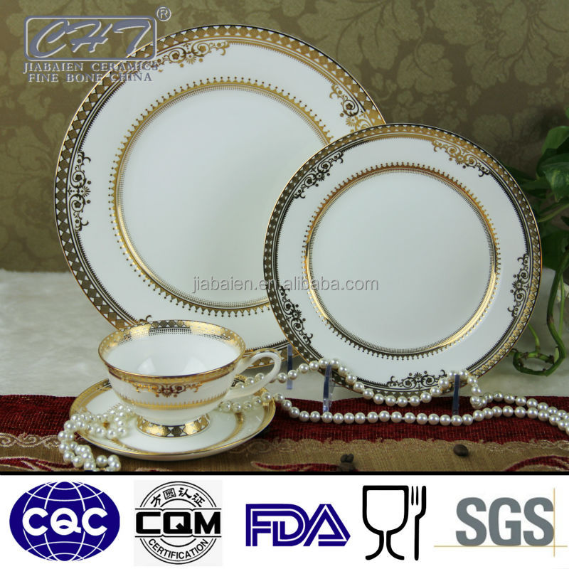 Restaurant coffee cup dinnerware set fine royal bone china with gold rim decal