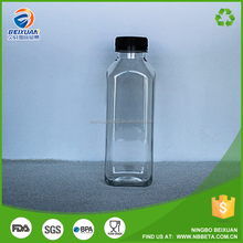 350ml Transparent Cold Pressed French Square Plastic Juice Bottle with Black Tamperproof Cap