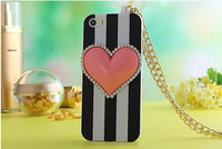 classic black white stripe with 3d peach heart and quilted lanyard plasitic phone cell case cover for iphone 5