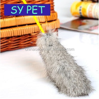 Fun Pet Dog Funny Hanging Cat Stick Handmade Plush Mouse with Color Feather Pet Toys Shot of Love Dog Toys