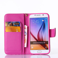 Hot selling piriting leather wallet filp case for samsung s6