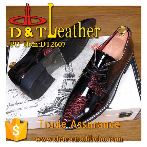 high glossy pu leather for man shoes