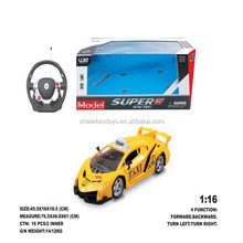 Super racing model 1: 16 Scale Radio Control car with 4 functions steering wheel