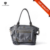 Rivets Detailing Spanish Style Women Affordable Genuine Leather Handbag