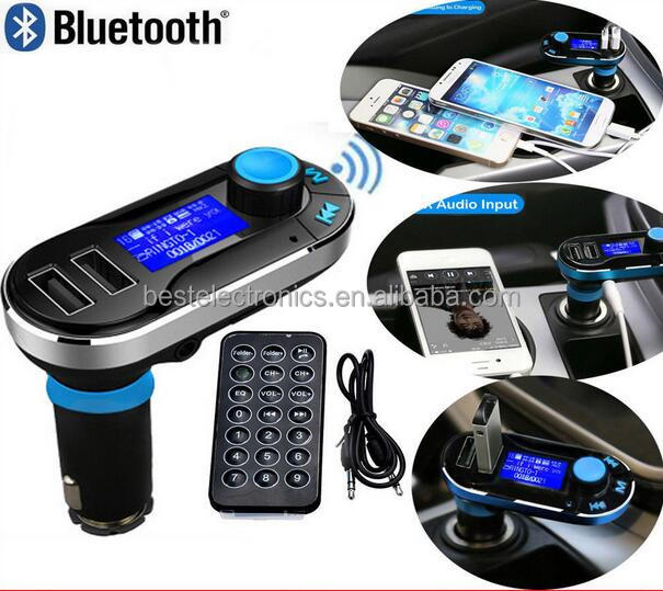 2016 Latest BT66 Car MP3 Player Bluetooth FM Wireless Transmitter Two USB SD LCD Car Charger Kit