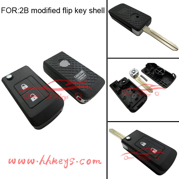 Car key case for Subar 2 button modified flip key no button pad with NSN14 blade