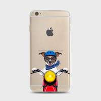 Phones cases creative cute naughty funny puppy dog riding motorcycle Soft TPU personalized cell phone cases For iPhone 6 6S