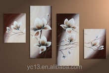 4pcs panel acrylic flower decoration oil painting on canvas