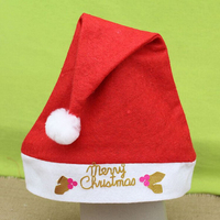 2015 Newest Wholesale Red Santa Headwear Supplies Non-Woven Child Christmas Hat for Christmas Gift