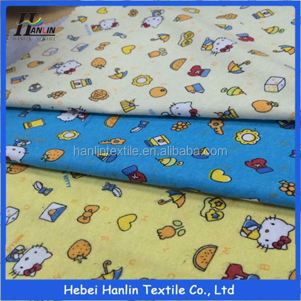 Wholesale 100% cotton custom cat printing cotton flannel blanket fabric