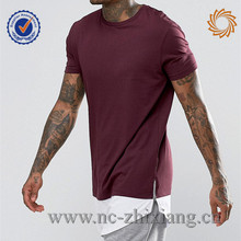 Fashion mens patchwork long tail t shirt with zipper side slit