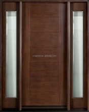72 in. x 96 in. Exterior Front Entry Double House African Mahogany Wood Main Door Design With Art Glass Inlay