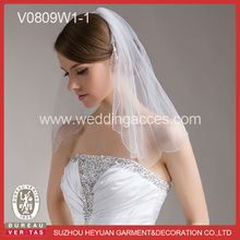 One Tier Crystal Beads and Sequins Pattern Short Veil