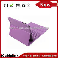 New style iPad 2 Wireless Bluetooth Keyboard Leather Case Purple