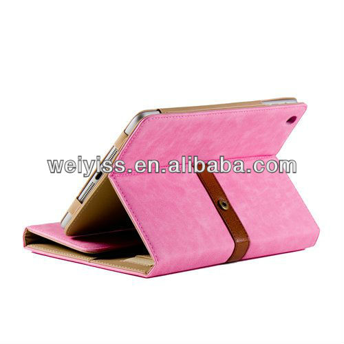 Hot Pink Belt Wallet Style PU Leather Folio Stand Case Hot Pink Belt Wallet Style PU Case for iPad Mini
