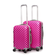 photochromic coating luggage suitcase plastic suitcase with dots printing trolley luggage for set