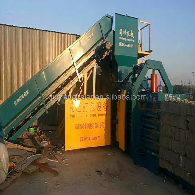 waste carton paper / plastic pet Bottle Baler Machine / hydraulic automatic baler press