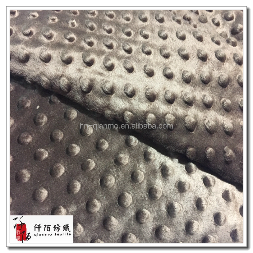 100% Polyester Embossed Knitting Super Soft velvet,Minky Dot Plush Velboa Fabric for Baby Blanket Using
