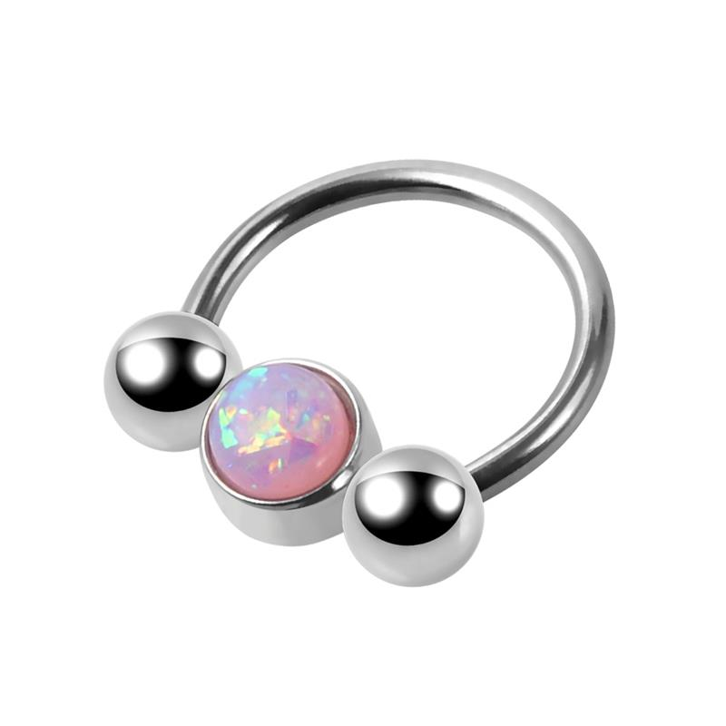 New design stainless steel silver septum nose ring 16g opal horseshoe ring barbell piercing jewelry