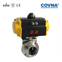 Hoop connection stainless steel dn63 sanitary butterfly valve pneumatic actuated sanitary butterfly valve