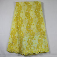 Bright yellow charming eco big lace fabric heavy cotton lace fabric fancy lace design