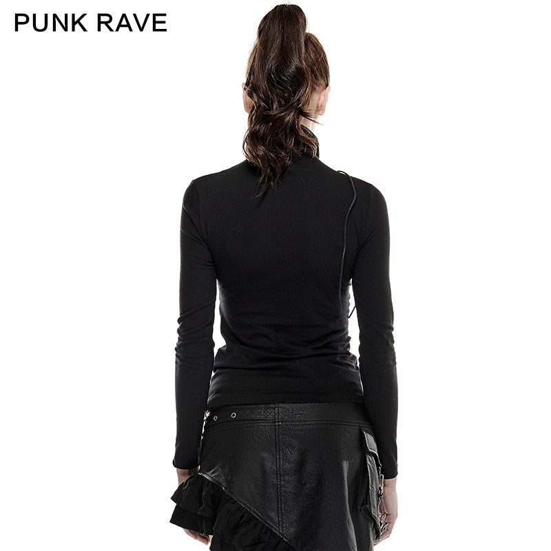 T-432 Newest Spring Steam Punk High Collar Woman Tight Mesh T-shirts