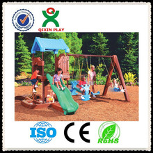 Kindergarten popular kids metal swing plastic swing and slide set, kids swing and slide