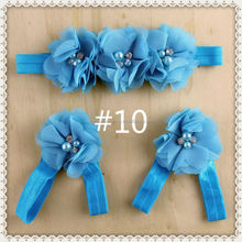 Wholesale Baby Chiffon flower headband and Baby sandals Set blue color