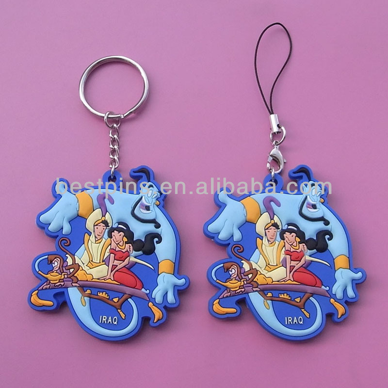 3D kids Aladdin magic lamp cartoons telephone pendant key chain