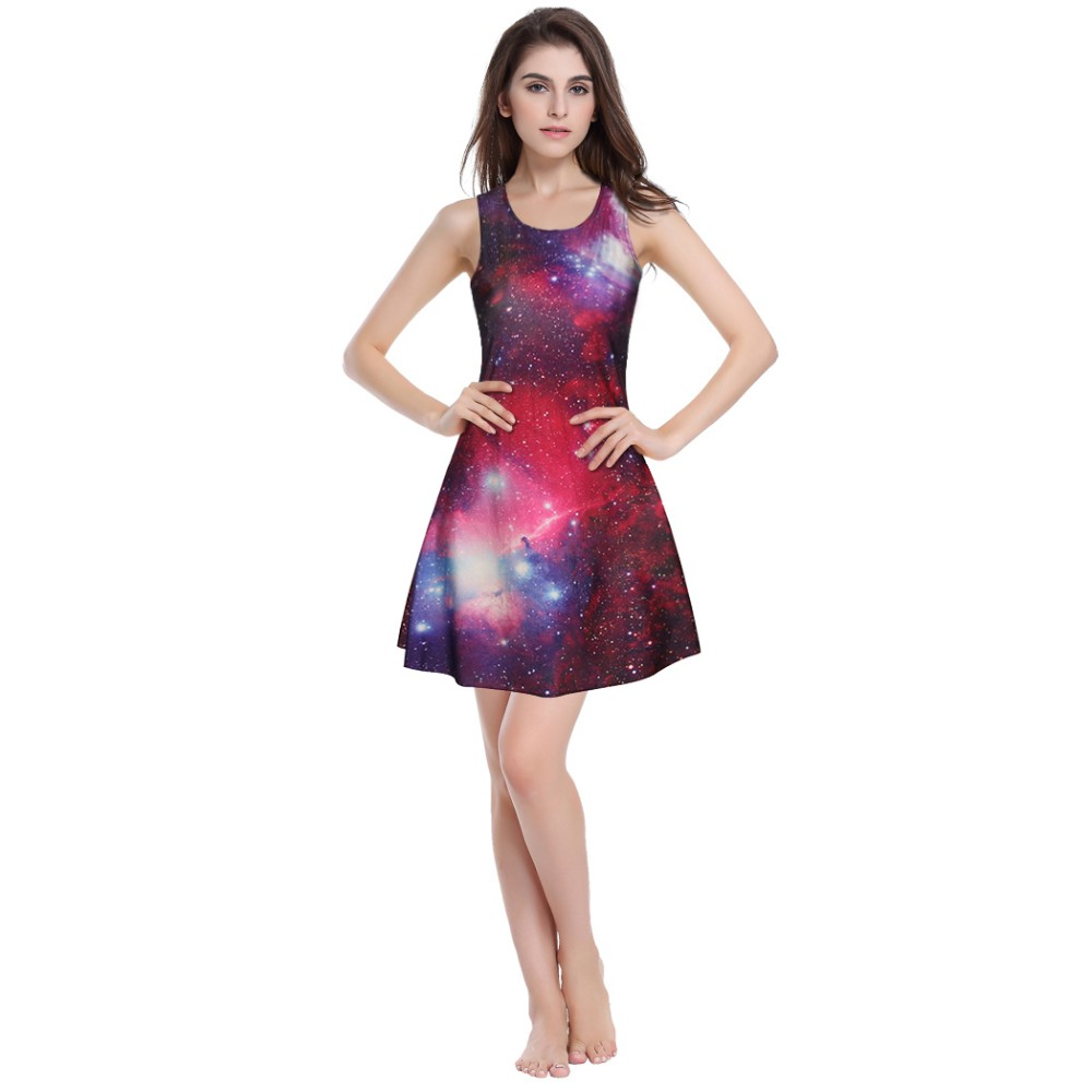 OEM Service sleeveless women printed casual pleated dress