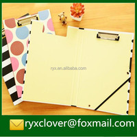 A4 paper plastic writing clipbroad with metal clip/double side folding clipboard