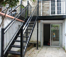 exterior metal stair/wrought iron straight stairs/outdoor straight staircase