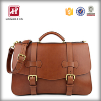 Leather Flap-Over Laptop Case Leather Tote Briefcase Shoulder Men Messenger Bag
