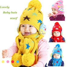HC-036 Updated Woolen Yarn Animal Style Cute Hand Knitting Child Winter Baby Hat and Scarf