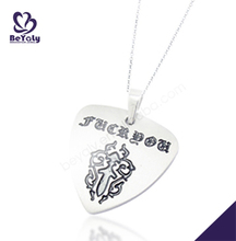 Guitar pick laser engraved stainless steel charm