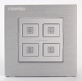 Customized 5V Dry Contact Silver Brushed Aluminium Soft Touch Press Key 4 Gang Light Switch