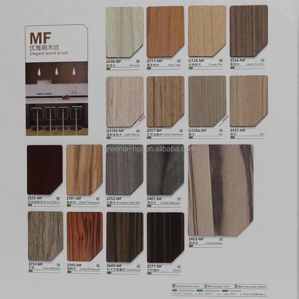 Greenia wooden high pressure laminate/formica laminate sheet/hpl panel
