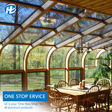 attached greenhouse glass conservatory sunroom 4 season prefab curved glass roof sunroom