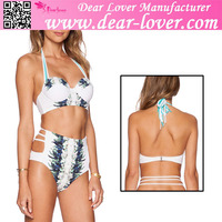 Ladies xxx 2016 Halterneck Push Up High Waist young girls 7-16 swimwear
