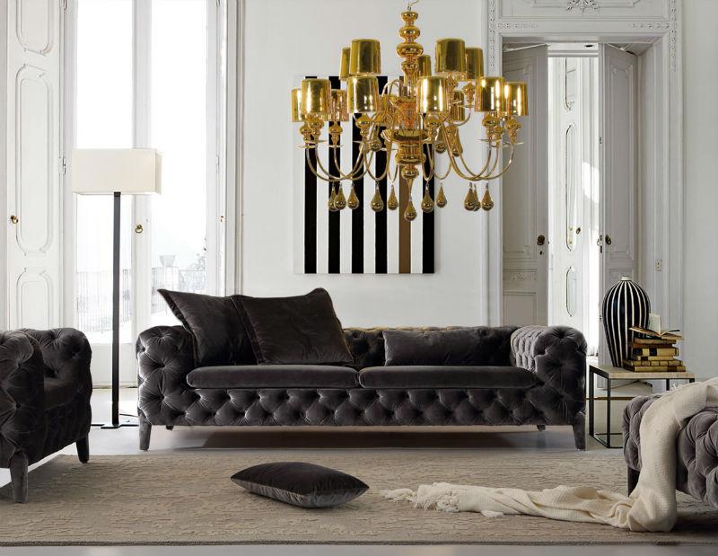 Hot Sale Modern Velvet Chesterfield Sofa