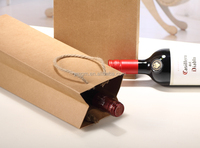 Custom wholesale brown kraft paper red wine bags for red wine