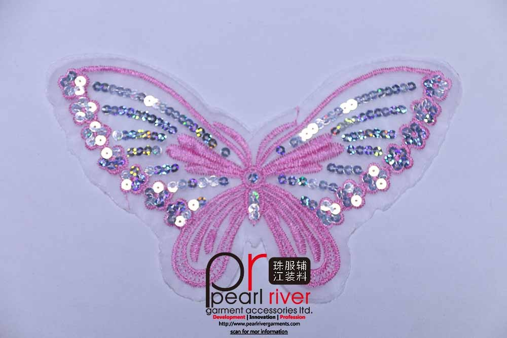 Custom pink Butterfly sequin mesh applique