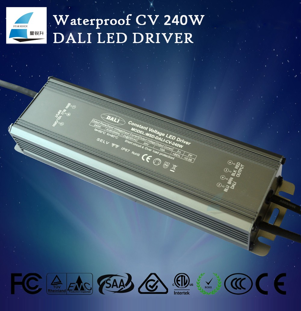 240W micro led driver 24v 10a dali dimming rgb controller ip67 dimmable led driver