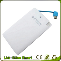 Slim Credit Card Power Bank 2600mAh Portable Contacts Charger Treasure for Mobile Phone Digital Products with Cable
