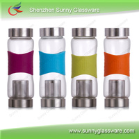 hot sale travel glass water bottle