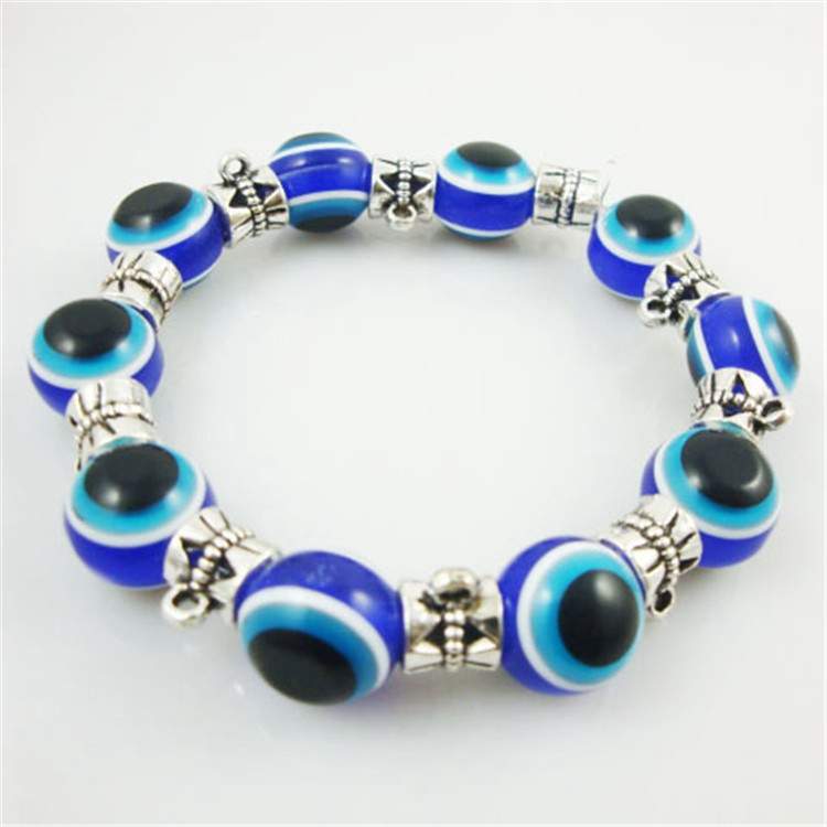 Turkish Unisex 12MM Evil Eye Bead Alloy Charms Wholesale Resin Bracelet Yiwu Factory