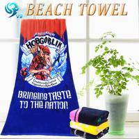 factory sell 100% cotton velour printed custom advertising design beach towel