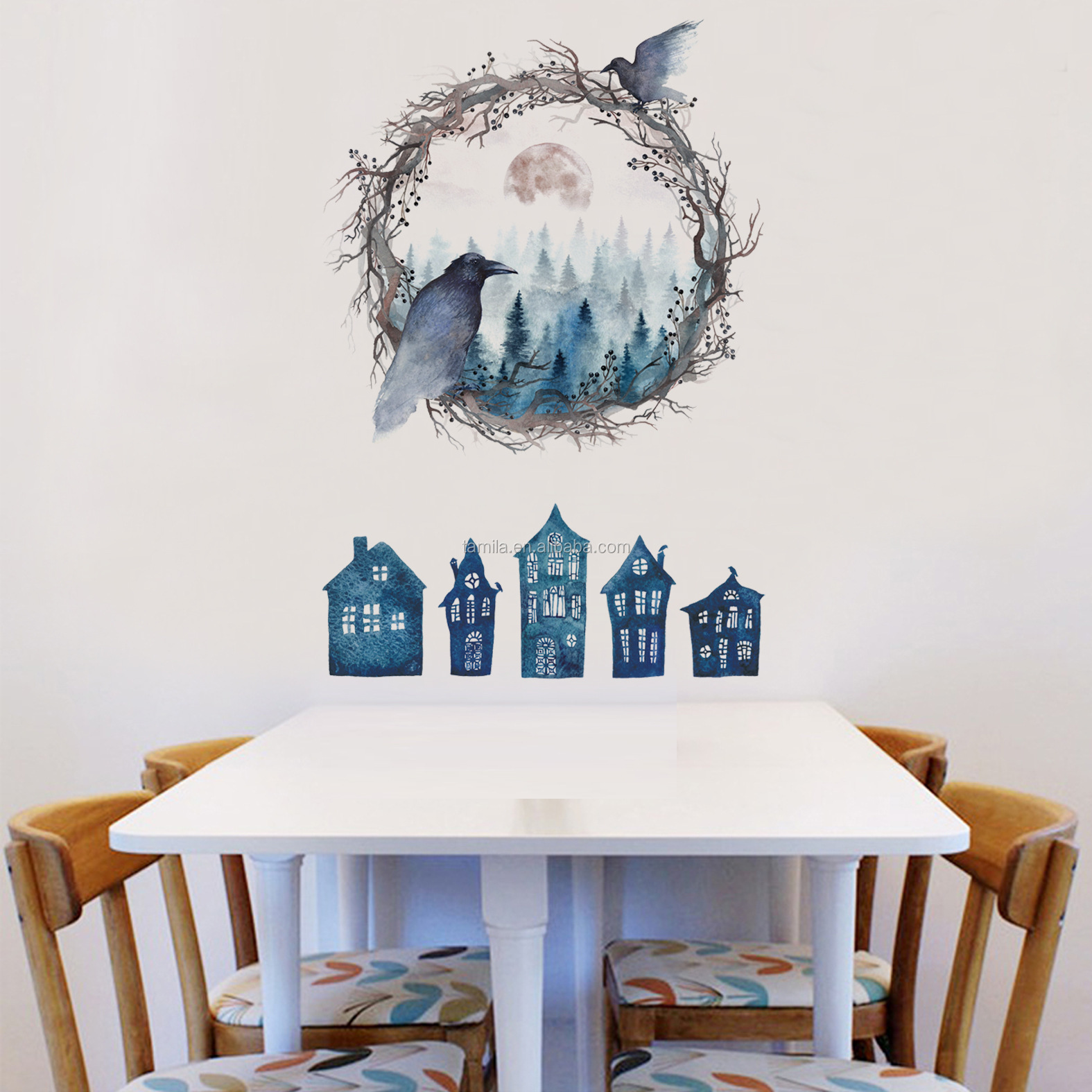 Halloween Festival series Crow Birdnest Horrible Castle living room decor Sticker