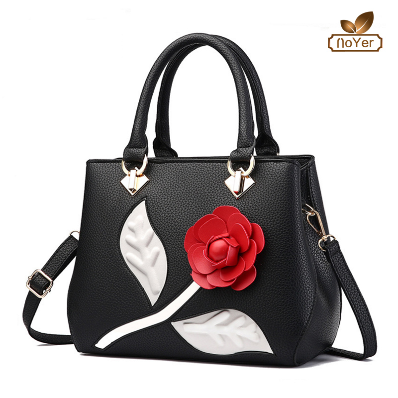 Manufacturers fashion leather zipper bags flowers printing ladies bags handbag